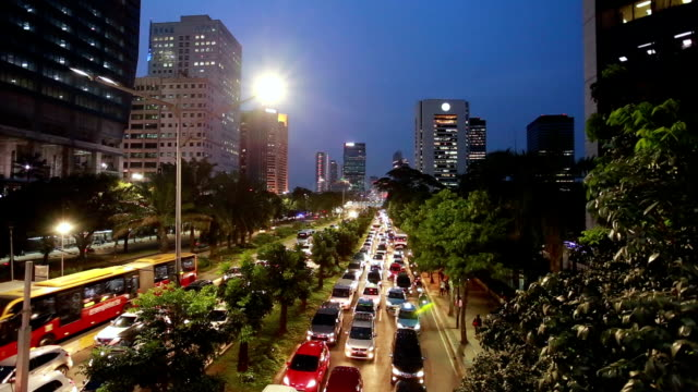 Traffic jam at night in Jakarta business district