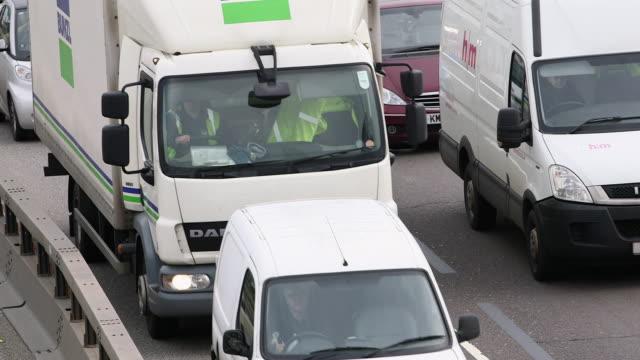ms traffic jam at north circular road / london, england, united kingdom - van stock videos & royalty-free footage