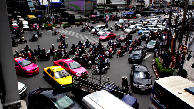 Traffic jam in central Bangkok at Sukhumvit road