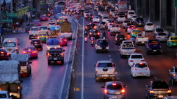 Traffic jam in the rush hour.Highway Traffic Downtown in Thailand.Cities and Architecture