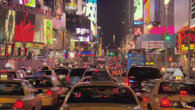 ms, traffic jam in times square at night, new york city, new york, usa - traffic jam stock videos & royalty-free footage