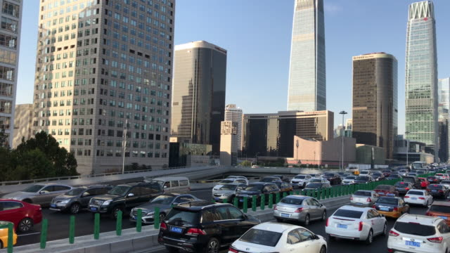 pov traffic jam of beijing urban street - pechino video stock e b–roll