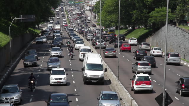 traffic jam on a busy highway / são paulo, brazil - wide shot stock videos & royalty-free footage