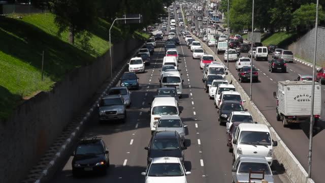 Traffic jam on a busy highway / São Paulo, Brazil