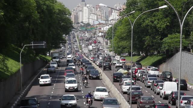 traffic jam on a busy highway / são paulo, brazil - south america stock videos & royalty-free footage