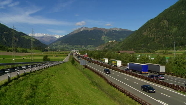 traffic jam on brennerautobahn in south tyrol - brennero stock videos and b-roll footage