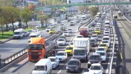 Traffic Jam On Istanbul, Metrobus, Cars Driving Slowly
