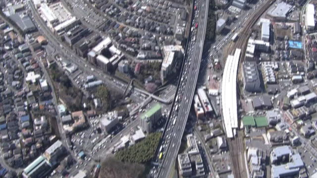aerial, traffic jam on tomei expressway, japan - kanagawa prefecture stock videos and b-roll footage
