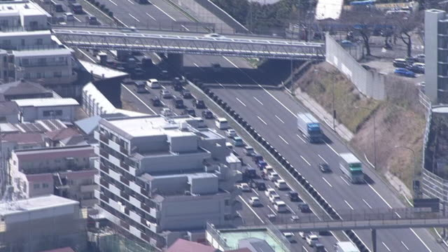 aerial, traffic jam on tomei expressway, japan - stationary stock-videos und b-roll-filmmaterial