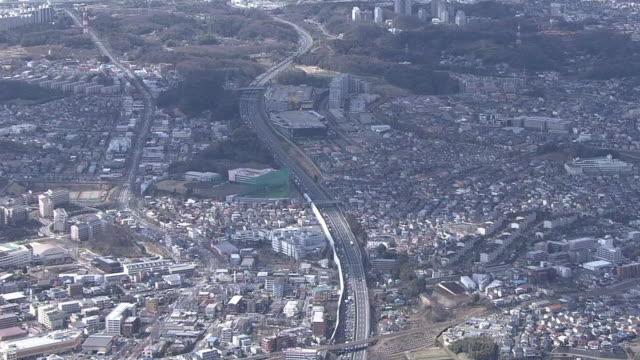 AERIAL, Traffic Jam On Tomei Expressway, Japan