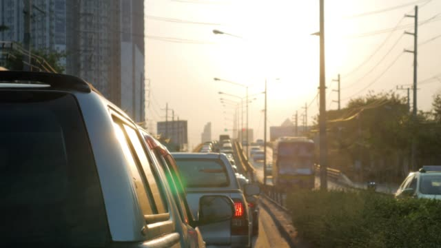 traffic jam rush hour at bangkok thailand in the morning - stationary stock videos & royalty-free footage