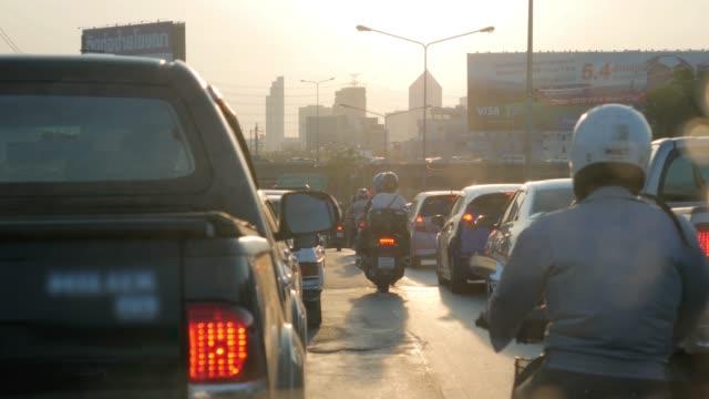 traffic jam rush hour at bangkok thailand in the morning - fermo video stock e b–roll