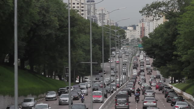traffic jam, sao paulo, brazil - wide shot stock videos & royalty-free footage