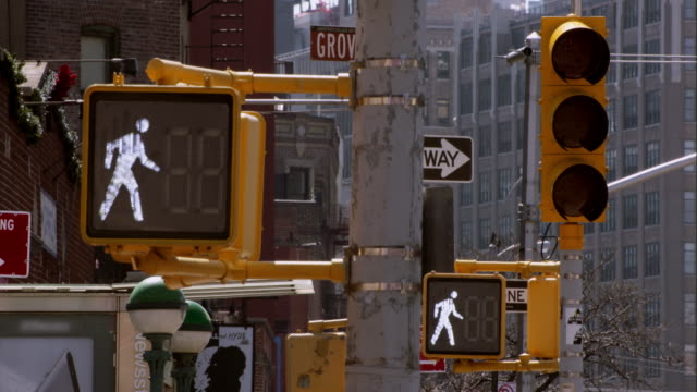 a traffic light and crosswalk signs flash a countdown to oncoming traffic. - schild stock-videos und b-roll-filmmaterial