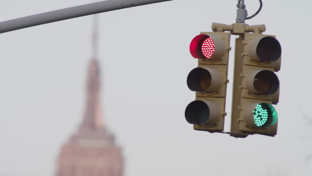 Traffic light in front of Empire State Building