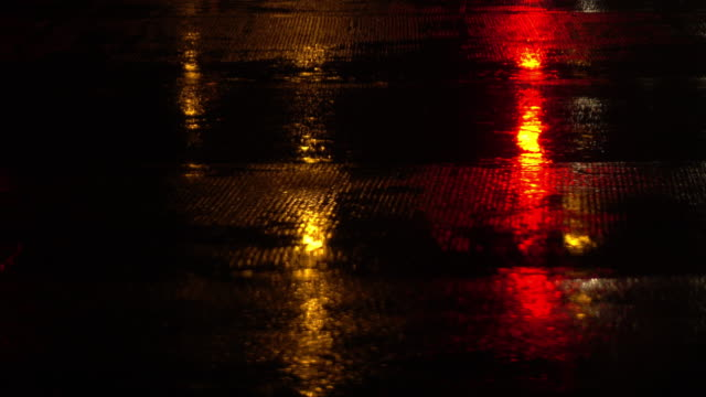 traffic light in rainy day