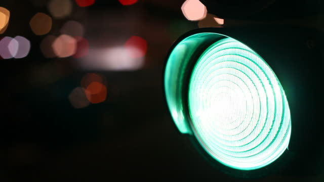 traffic light in the night - green light stoplight stock videos and b-roll footage