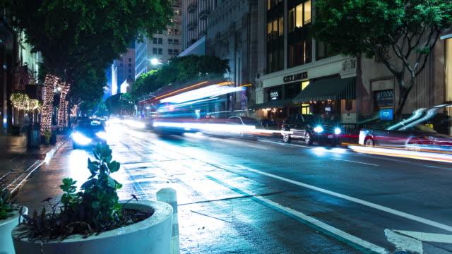 Traffic Light Streaks Downtown - Time Lapse