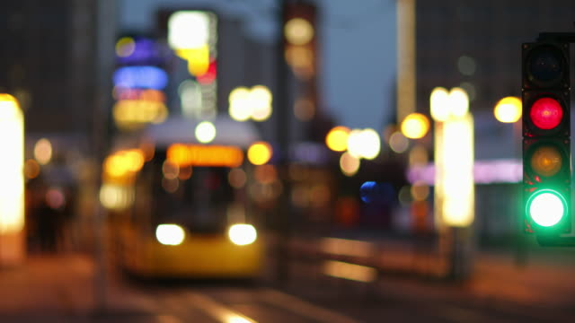 Traffic Light with Train and Blurred Bokeh Lights