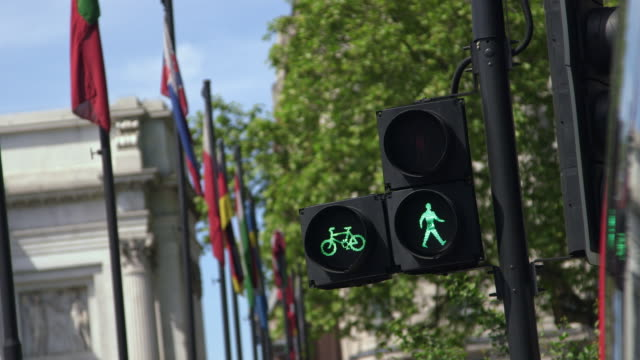 ms selective focus traffic lights and row of flags in city of westminster / london, england, united kingdom - stoplight stock videos and b-roll footage