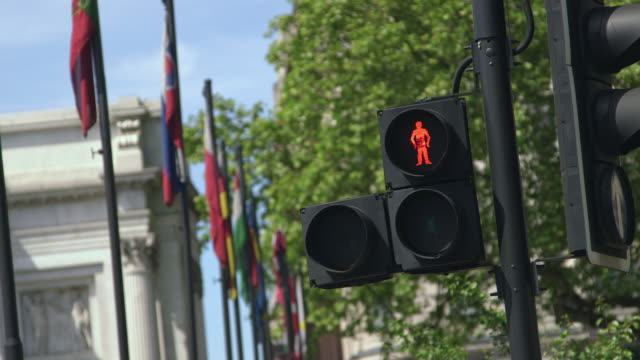 MS SELECTIVE FOCUS Traffic lights and row of flags in City of Westminster / London, England, United Kingdom