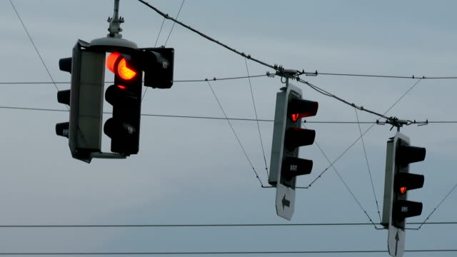 traffic lights at dusk