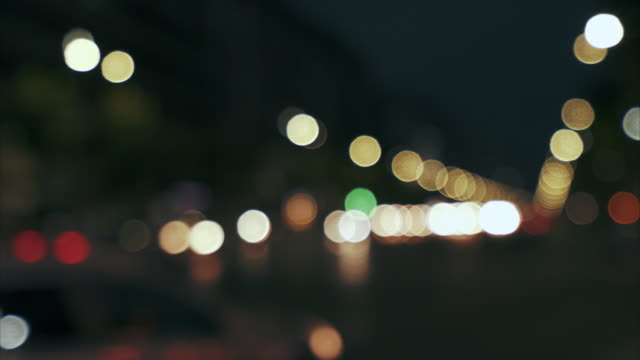 Traffic lights at night.