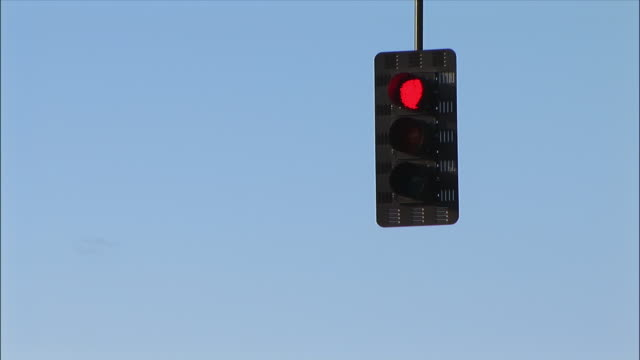LA, traffic lights hanging against blue sky