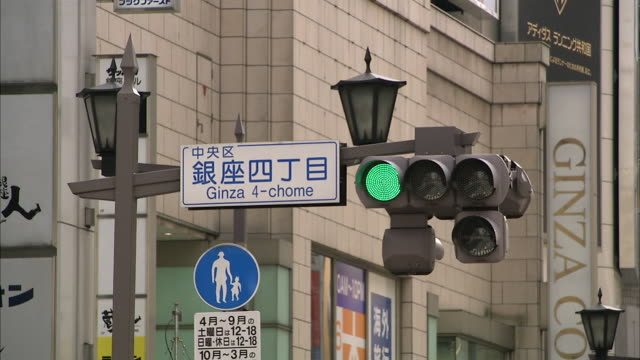 ms traffic lights in ginza, tokyo, japan - segnaletica stradale video stock e b–roll