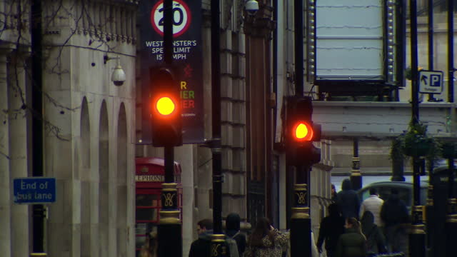 traffic lights in london - street light stock videos & royalty-free footage