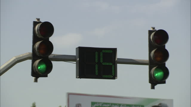 MS Traffic lights with digital screen counting down / Teheran, Iran