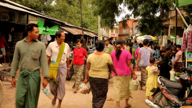 traffic local market in bagan, myanmar - myanmar stock videos and b-roll footage