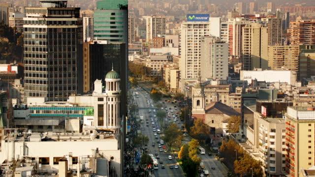 traffic moves across the avenida libertador bernardo o'higgins in santiago, chile. - avenida stock videos & royalty-free footage
