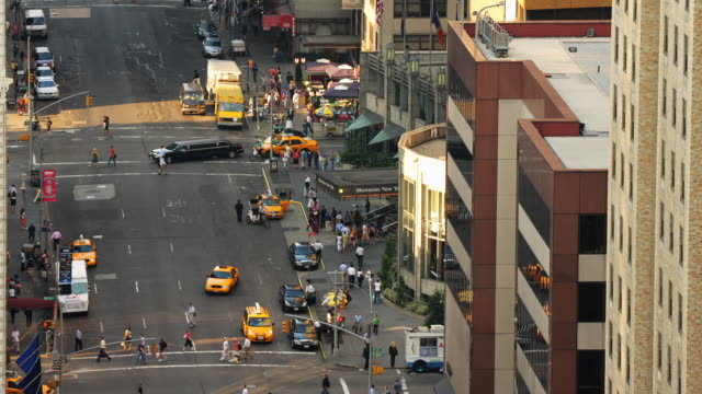 Traffic moves along 7th Avenue in New York City.