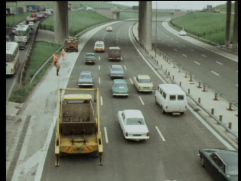 traffic moves along spaghetti junction on day of opening - birmingham england stock videos & royalty-free footage
