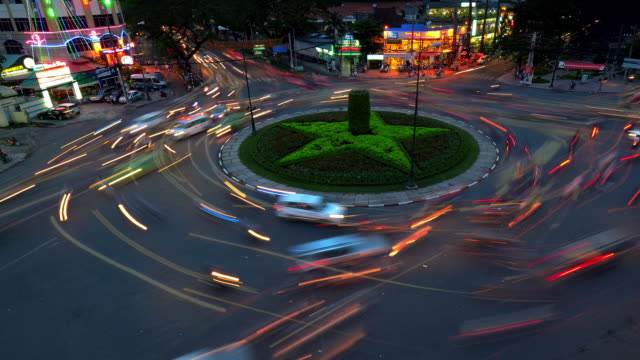 Traffic moves around a six-way roundabout in Ho Chi Minh City, Vietnam.