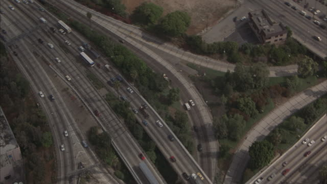 Traffic moves on and near interchanges I-101 and I-110 in Los Angeles.