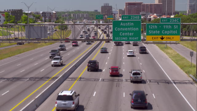 Traffic Moving Along Interstate 35 near the Austin Convention Center
