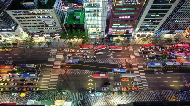 MS T/L Traffic moving at Gangnam Station Area / Seoul, South Korea
