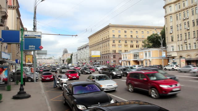 MS Traffic moving at Sadovoye Koltso in Moscow / Moscow, Russia