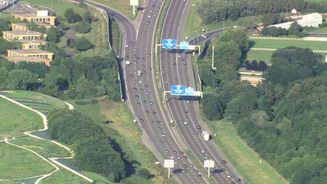 vidéos et rushes de ms aerial traffic moving on a4 motorway / seine-et-marne, france - autoroute