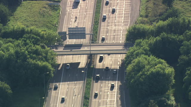 MS AERIAL TS Traffic moving on A4 Motorway / Seine-et-Marne, France
