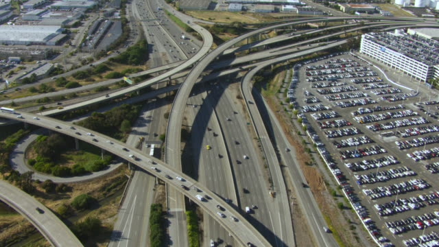 WS POV Traffic moving on elevated road at day / San Francisco, California, United States