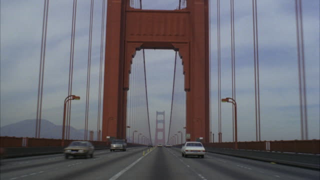MS POV Traffic moving on golden gate bridge / San Francisco, California, United States