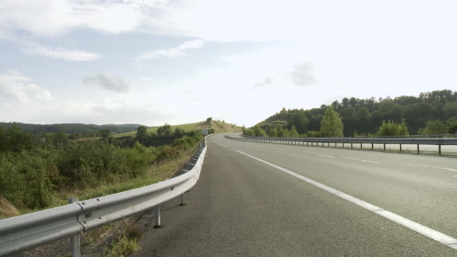 ws traffic moving on highway in rural area / lit-et-mixe, aquitaine,  france - aquitaine stock videos and b-roll footage