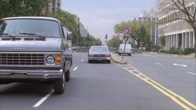 MS POV Traffic moving on road in city / washington dc, united states
