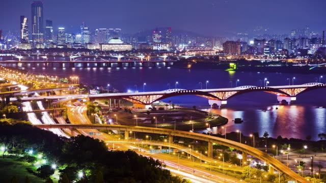 WS T/L Traffic moving on Seongsandaegyo Bridge in Yeouido Business District / Seoul, South Korea