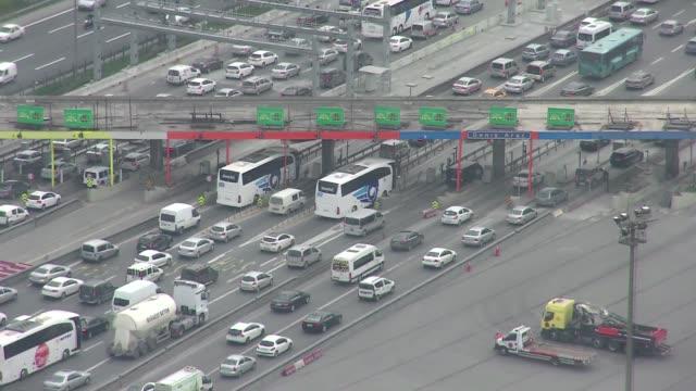 traffic near the bosphorus bridge in istanbul - istanbul stock videos & royalty-free footage