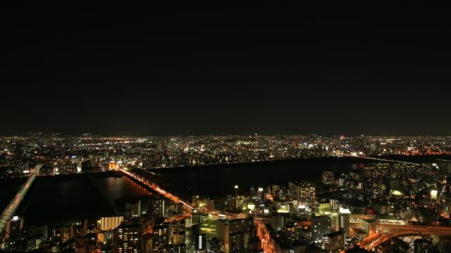 トラフィックの夜、建物、大阪 - 商業地域点の映像素材/bロール