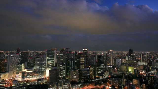 traffic night,building, osaka - urban road stock videos & royalty-free footage